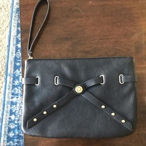 Black and gold hardware clutch
